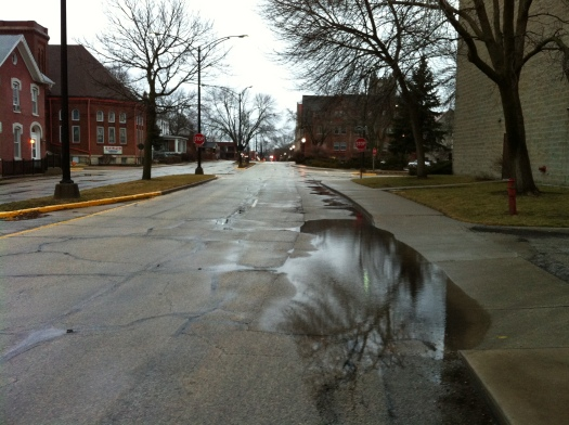 February Puddles in the Street