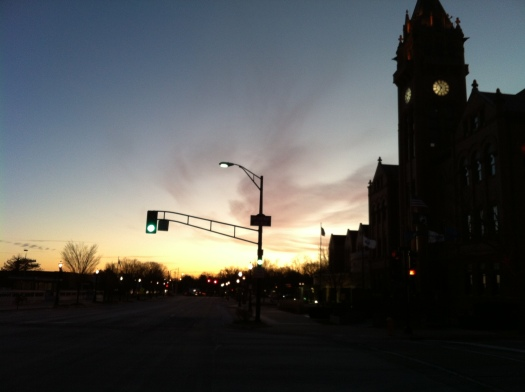 Sunrise and Clock Tower, Green Light
